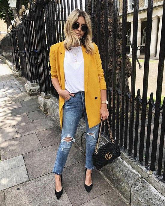 С чем носить желтый жакет