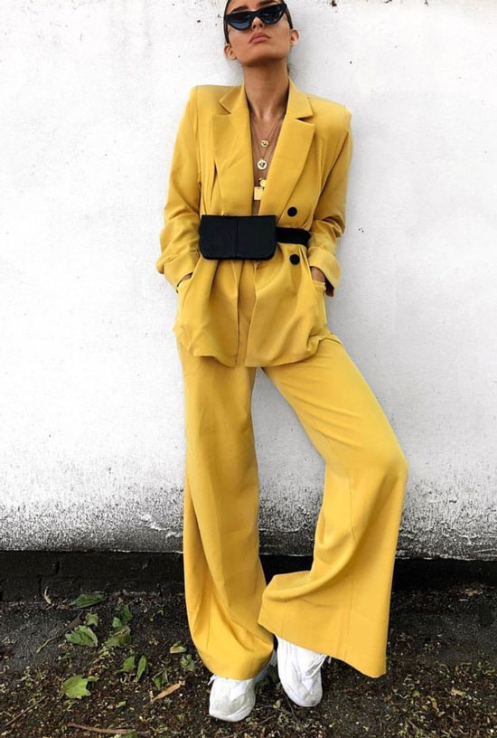 С чем носить желтый женский жакет