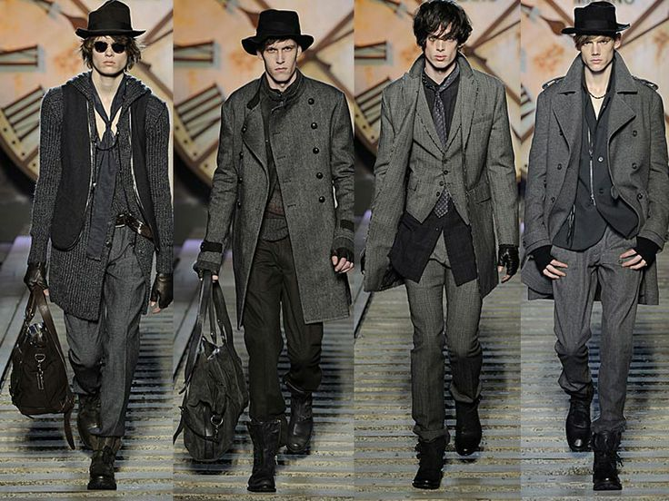 Четыре мужских образа в стиле гранж в серых тонах