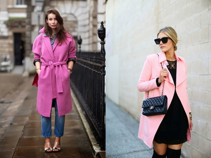 Девушки в разных розовых пальто