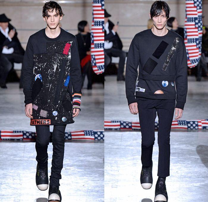 Два образа в стиле гранж, модель в черных узких брюках и кофте с принтом
