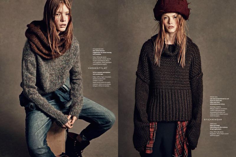 Модели в образах в стиле гранж, темный просторный свитер, джинсы, шарф