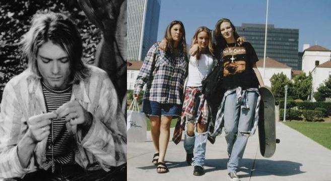 Модели в стиле гранж, рваные джинсы и рубашки в клетку