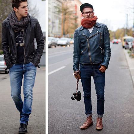 Парни в джинсах и вязаных шарфах