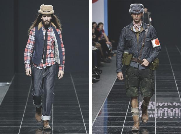 Слева-модель в синих джинсах, рубахе в клетку, жилет и шляпа, справа- модель в синей куртке и темных бриджах, стиль гранж