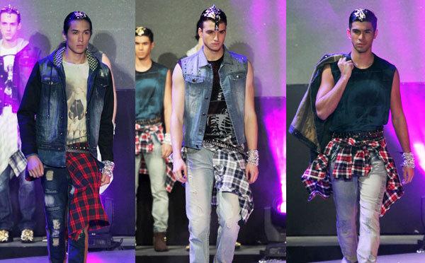 Три образа в стиле гранж, джинсы, футболка и рубаха в клетку повязанная вокруг талии