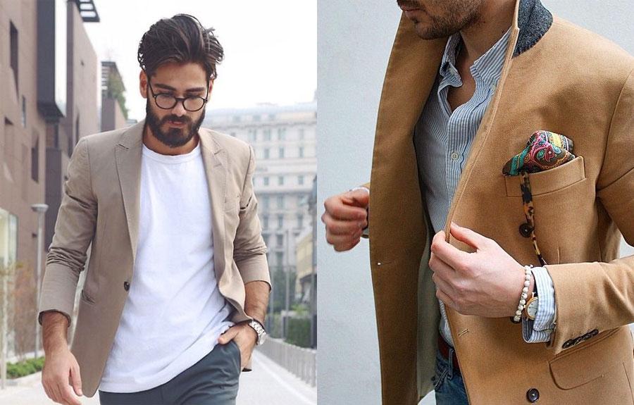 мужчина в бежевом пиджаке сдвоенное фото