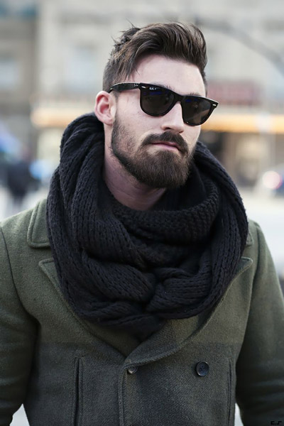 мужчина в болотном пальто с черным шарфом