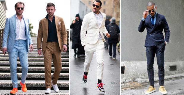мужчины в пиджаке и кроссовках
