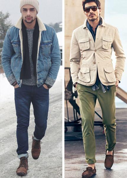 парни в куртках и шарфах под ними