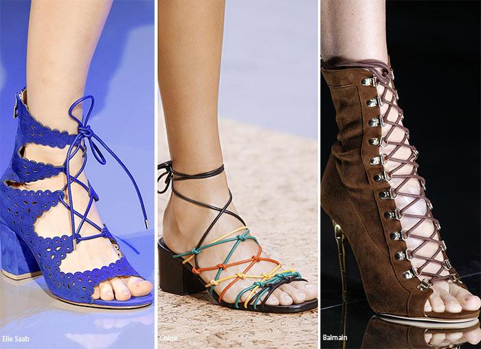 Босоножки на шнуровке - тенденции обуви весна/лето 2016