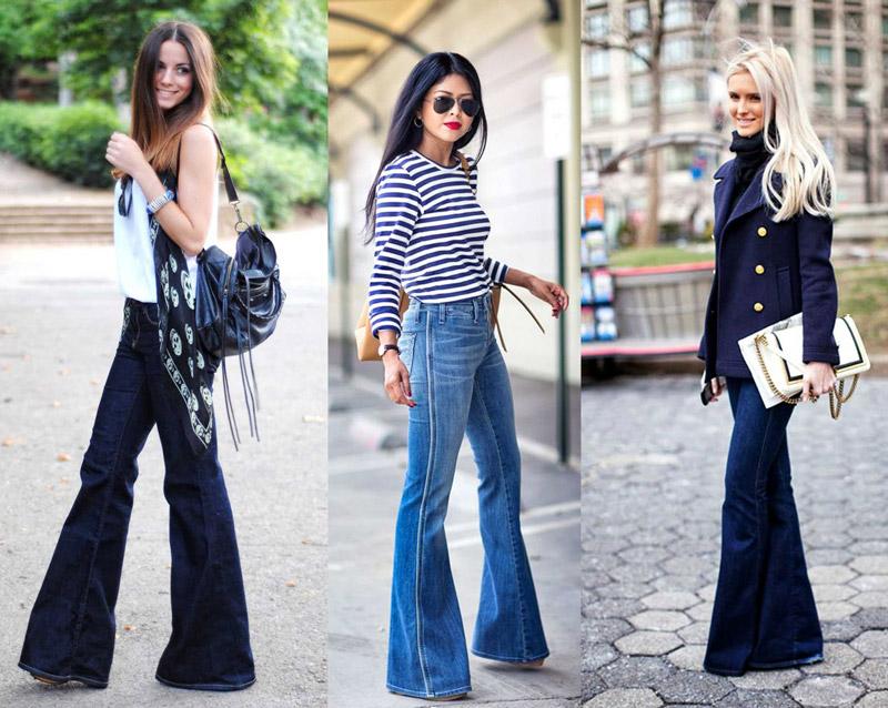 Девушки в топах и джинсах клеш