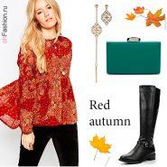 Лук-с-красной-винтажной-блузкой