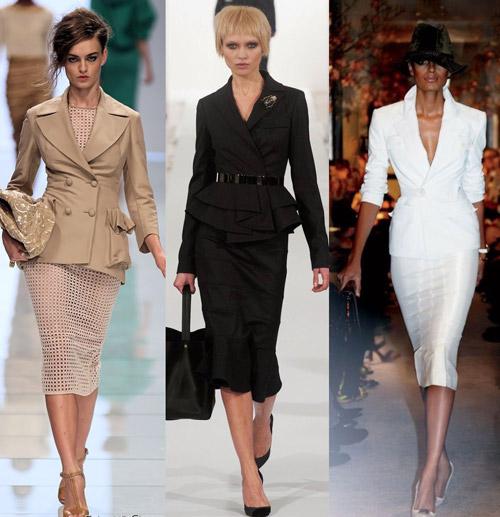 Три образа моделей в делом стиле в костюмах с юбками карандаш ниже колена