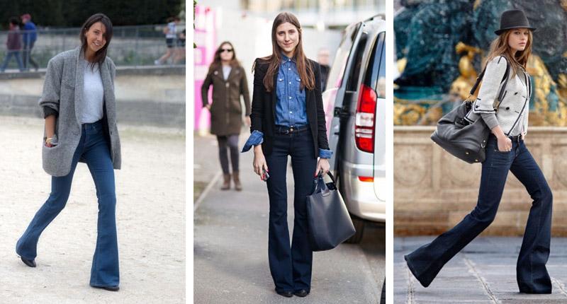 Девушки в разных образах с джинсами клеш