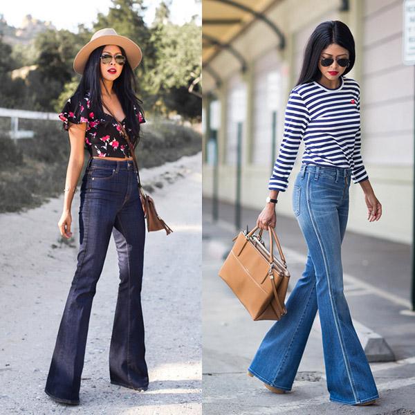 Девушки в летних образах с джинсами клеш