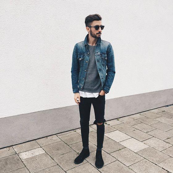 мужчина в джинсах и джинсовке