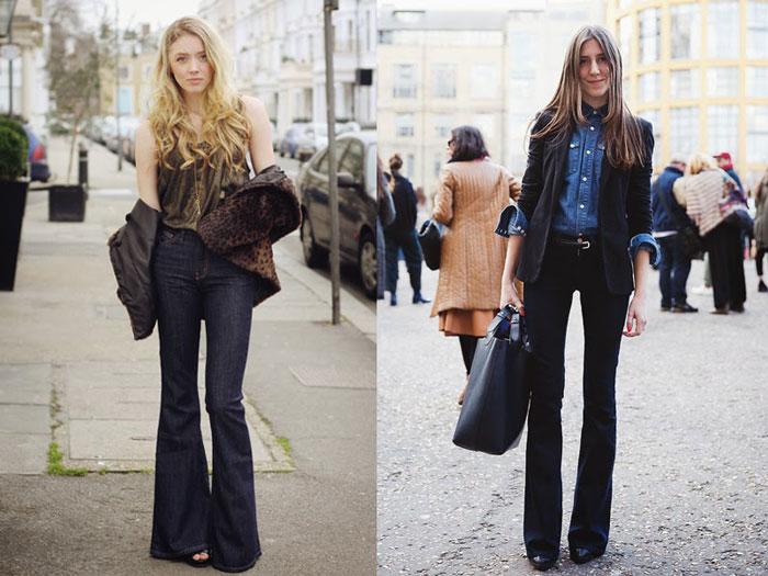Девушки в темных джинсах клеш