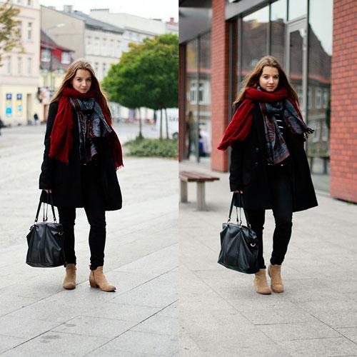 Девушка в пальто и с бордовым шарфом
