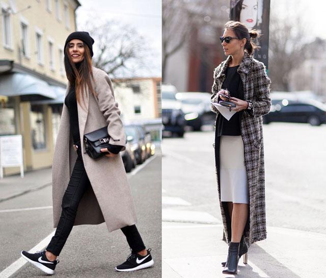 Девушки в длинных пальто
