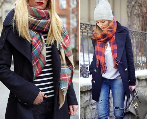 Девушки в клетчатых шарфах