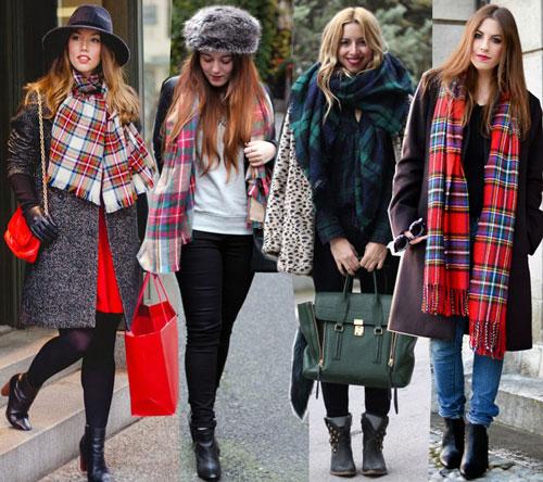 Девушки в разных клетчатых шарфах