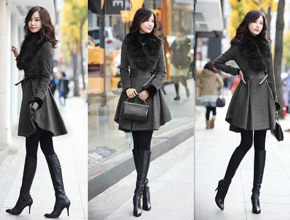 Девушки в сером пальто