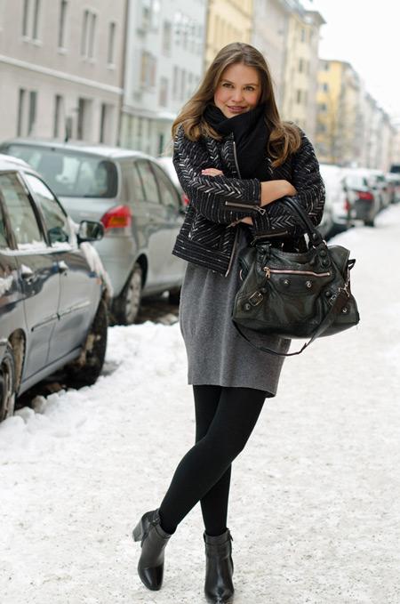 Черное колготками  куртки