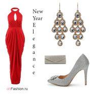 Лук с длинным красным платьем с ламоды