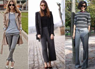 женские серые брюки с чем носить фото