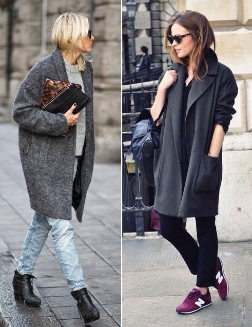Две девушки в сером пальто