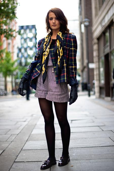 Девушка в высоких шортах и лоферах