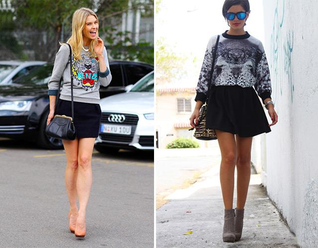 Девушки в свитшотах и юбках