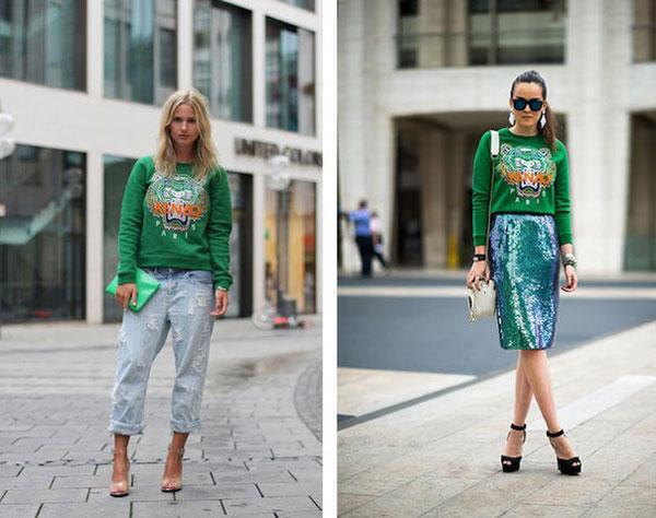 Девушки в зеленом свитшоте