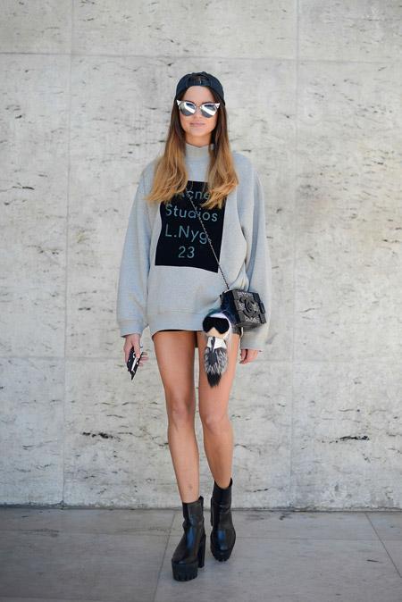 Модель в мини шортах, серый свиншот с надписями и кепка