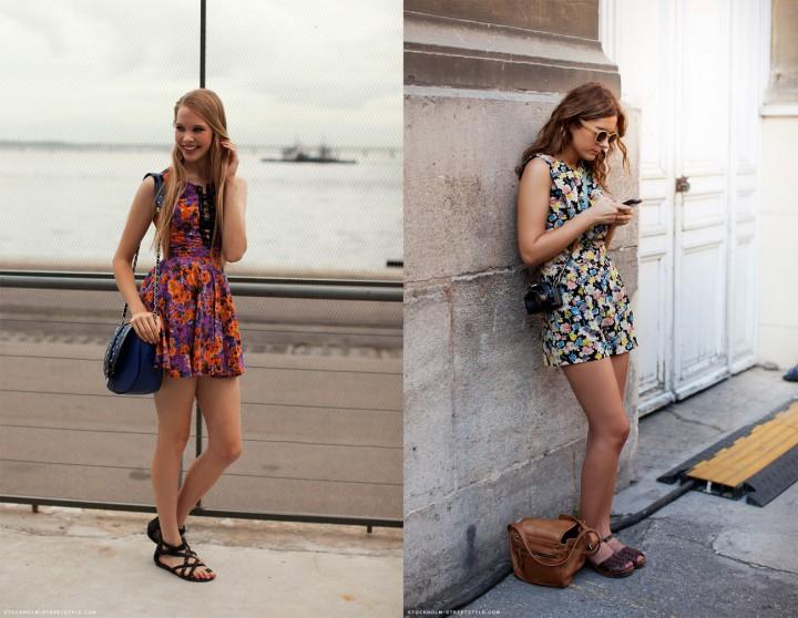 Девушки в цветочных сарафанах и сандалиях