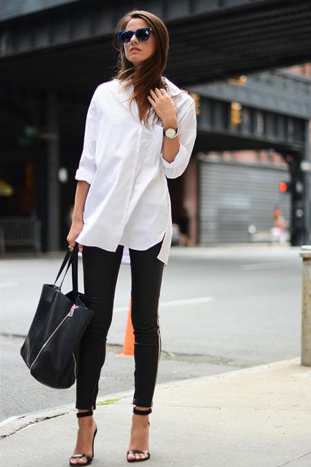 Девушка в белой рубашке и черных брюках