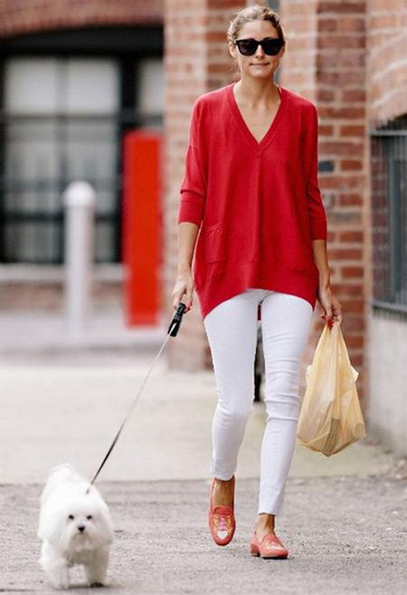 Оливия Палермо в узких брюках