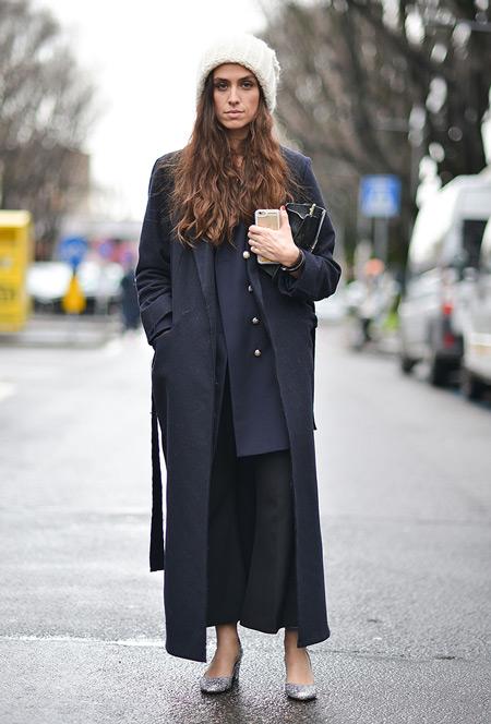 Девушка в черных капри, кардигане, длинном черном пальто и вязанная шапка