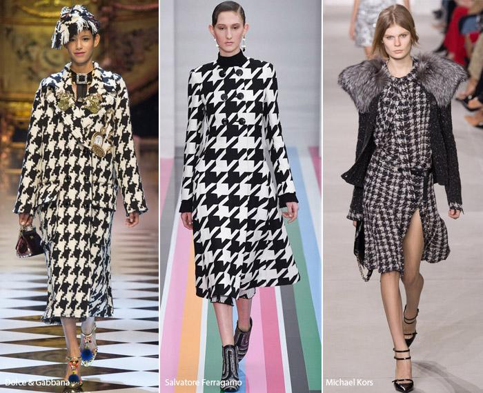 Гусиная лапка - модные тенденции принтов, осень зима 2016-2017