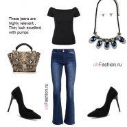 Лук с джинсами клеш, черная футболка и туфли лодочки