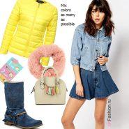 Лук  с джинсовкой, синие сапоги, желтая куртка и сумка