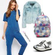 Лук с джинсовым комбинезоном, кроссовки, рюкзак и меховая шубка