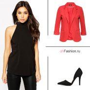 Лук с красным пиджаком, черные брюки и топ