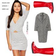 Лук с красными резиновыми сапогами, белым мини платьем и серое пальто