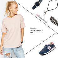 Лук с розовой футболкой, рванные джинсы и акссесуары