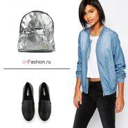 Лук с серебрянным рукзаком, мокасины и голубая джинсовка