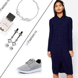 Лук с синем платьем-рубашка, кроссовки