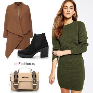 Лук с теплым платьем, коричневое пальто и ботильоны