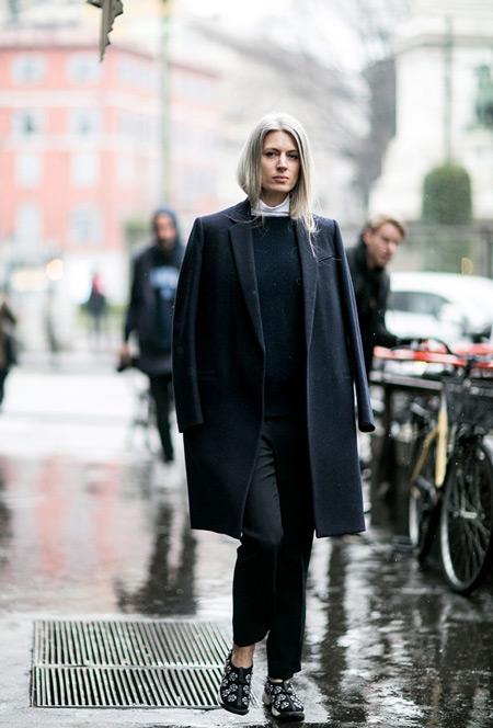 Модель в черных капри, свитере и пальто прямого покроя